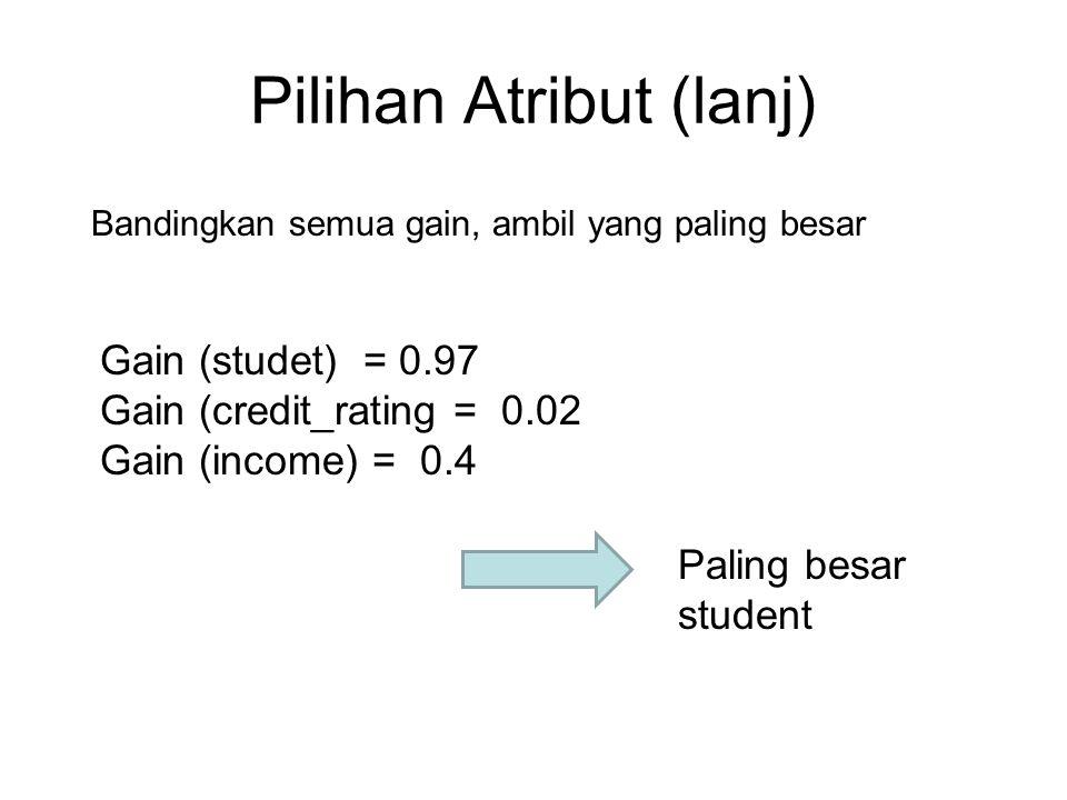 Pilihan Atribut (lanj) Paling besar student Gain (studet) = 0.97 Gain (credit_rating = 0.02 Gain (income) = 0.4 Bandingkan semua gain, ambil yang pali