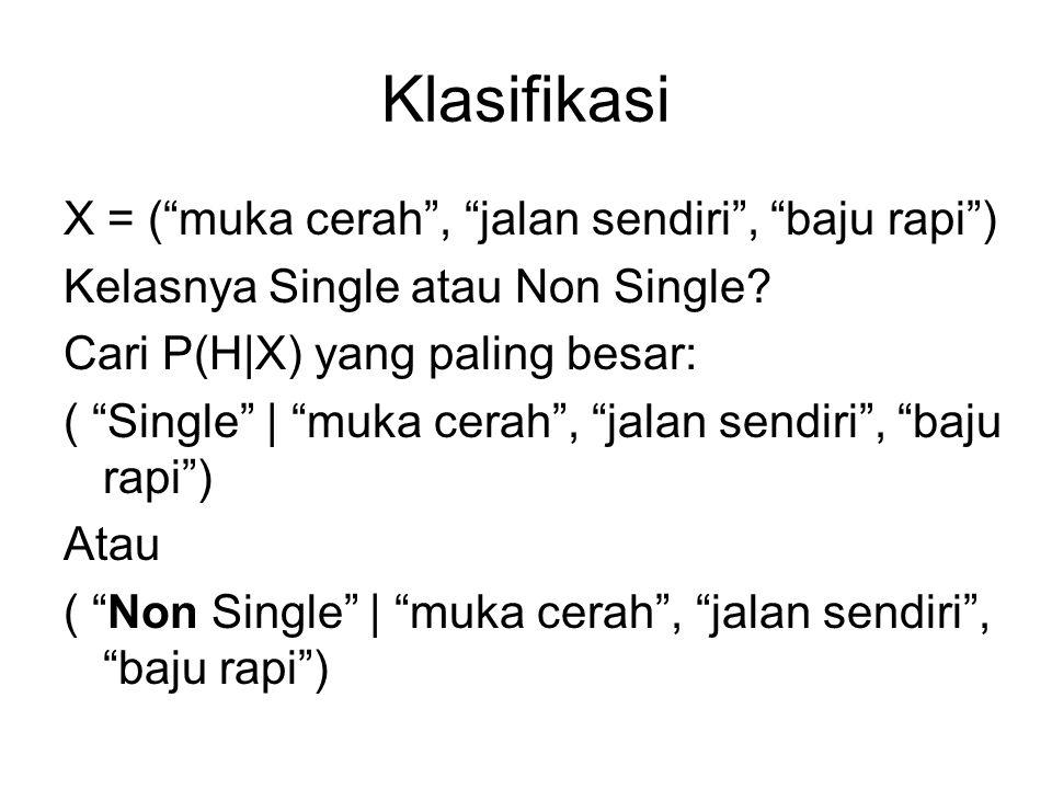 "Klasifikasi X = (""muka cerah"", ""jalan sendiri"", ""baju rapi"") Kelasnya Single atau Non Single? Cari P(H X) yang paling besar: ( ""Single""   ""muka cerah"""