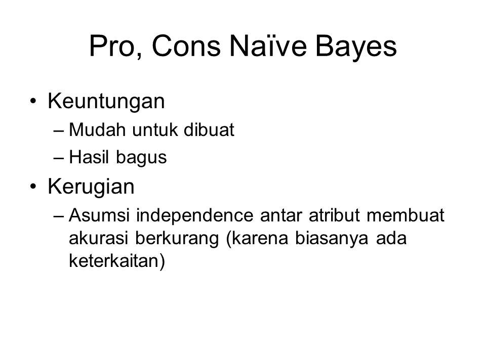 Pro, Cons Naïve Bayes Keuntungan –Mudah untuk dibuat –Hasil bagus Kerugian –Asumsi independence antar atribut membuat akurasi berkurang (karena biasan