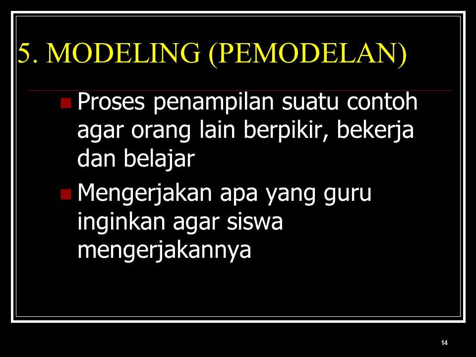 14 5. MODELING (PEMODELAN) Proses penampilan suatu contoh agar orang lain berpikir, bekerja dan belajar Mengerjakan apa yang guru inginkan agar siswa