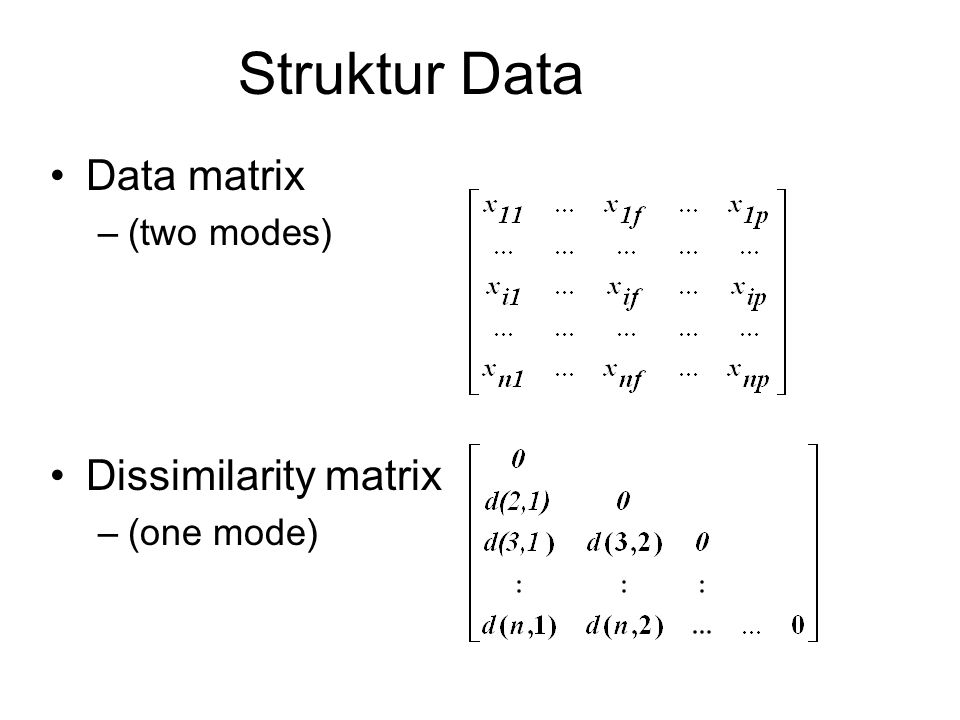 Struktur Data Data matrix –(two modes) Dissimilarity matrix –(one mode)