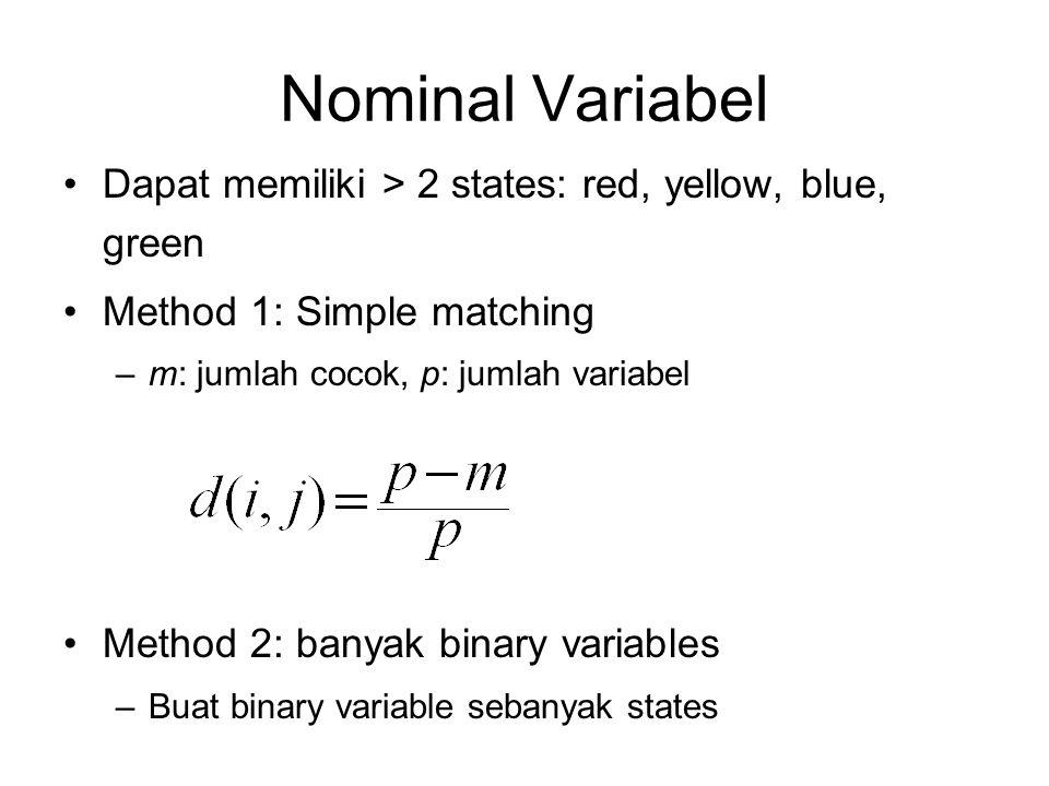 Nominal Variabel Dapat memiliki > 2 states: red, yellow, blue, green Method 1: Simple matching –m: jumlah cocok, p: jumlah variabel Method 2: banyak b
