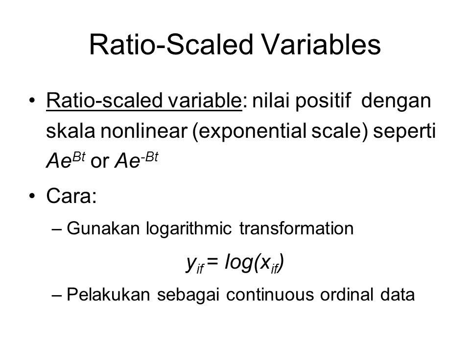 Ratio-Scaled Variables Ratio-scaled variable: nilai positif dengan skala nonlinear (exponential scale) seperti Ae Bt or Ae -Bt Cara: –Gunakan logarith