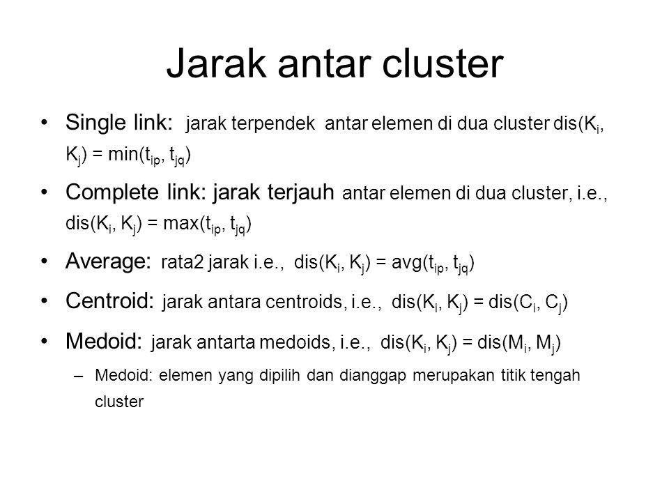 Jarak antar cluster Single link: jarak terpendek antar elemen di dua cluster dis(K i, K j ) = min(t ip, t jq ) Complete link: jarak terjauh antar elem