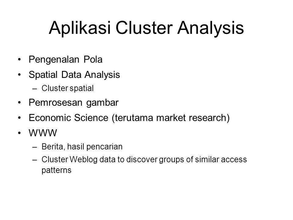 Aplikasi Cluster Analysis Pengenalan Pola Spatial Data Analysis –Cluster spatial Pemrosesan gambar Economic Science (terutama market research) WWW –Be