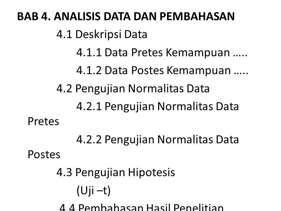 BAB 4. ANALISIS DATA DAN PEMBAHASAN 4.1 Deskripsi Data 4.1.1 Data Pretes Kemampuan ….. 4.1.2 Data Postes Kemampuan ….. 4.2 Pengujian Normalitas Data 4
