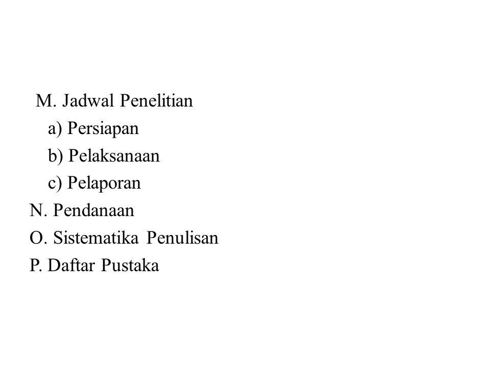 M. Jadwal Penelitian a) Persiapan b) Pelaksanaan c) Pelaporan N. Pendanaan O. Sistematika Penulisan P. Daftar Pustaka