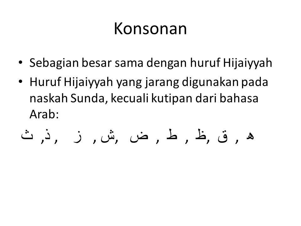 Konsonan Sebagian besar sama dengan huruf Hijaiyyah Huruf Hijaiyyah yang jarang digunakan pada naskah Sunda, kecuali kutipan dari bahasa Arab: ﺙ, ﺬ, ز, ﺶ, ﺾ, ط, ﻇ, ق, ھ
