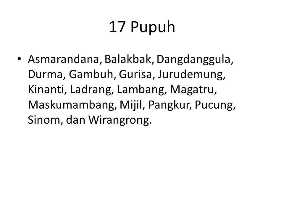 17 Pupuh Asmarandana, Balakbak, Dangdanggula, Durma, Gambuh, Gurisa, Jurudemung, Kinanti, Ladrang, Lambang, Magatru, Maskumambang, Mijil, Pangkur, Pucung, Sinom, dan Wirangrong.