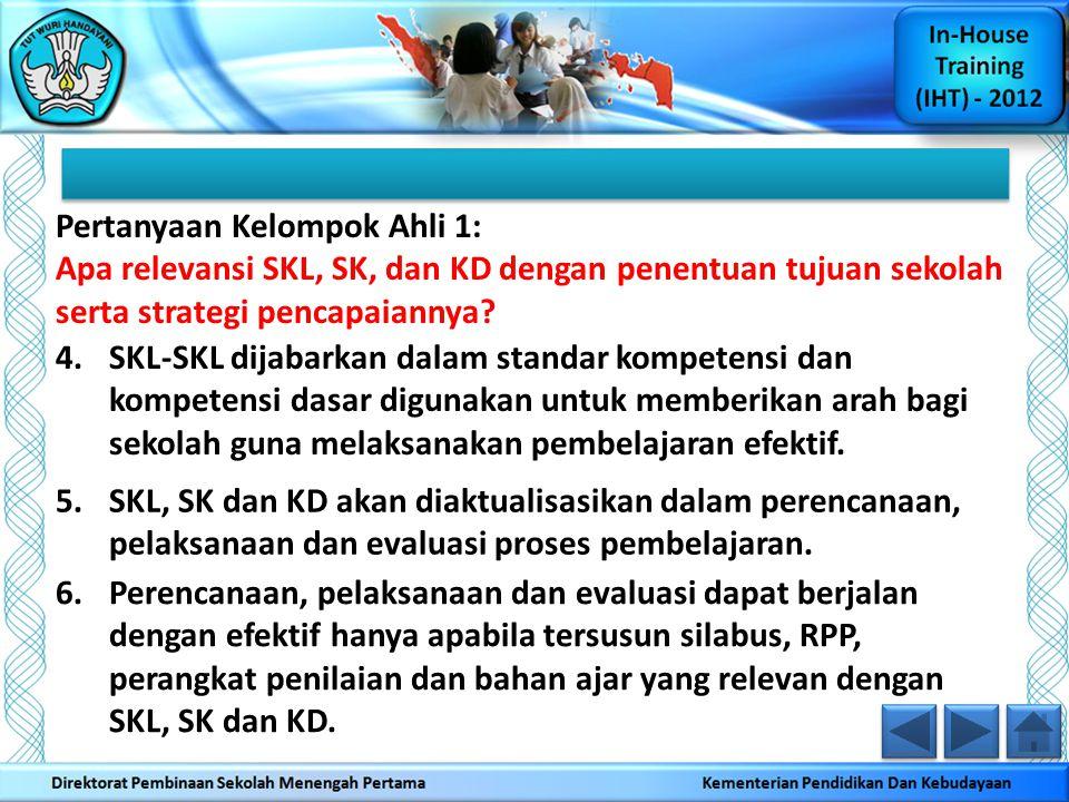 Pertanyaan Kelompok Ahli 1: Apa relevansi SKL, SK, dan KD dengan penentuan tujuan sekolah serta strategi pencapaiannya? 4.SKL-SKL dijabarkan dalam sta