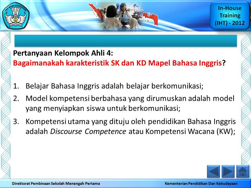 Pertanyaan Kelompok Ahli 4: Bagaimanakah karakteristik SK dan KD Mapel Bahasa Inggris? 1.Belajar Bahasa Inggris adalah belajar berkomunikasi; 2.Model