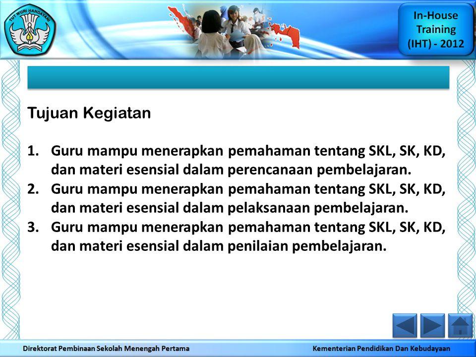 1.Guru mampu menerapkan pemahaman tentang SKL, SK, KD, dan materi esensial dalam perencanaan pembelajaran. 2.Guru mampu menerapkan pemahaman tentang S
