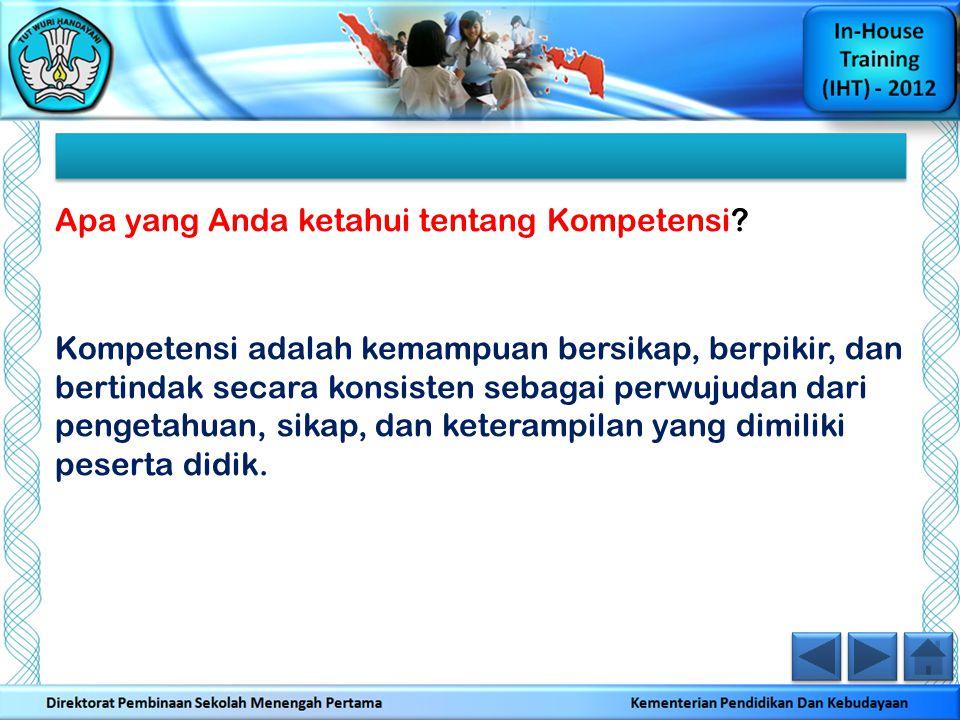 Apa yang Anda ketahui tentang Standar Kompetensi.