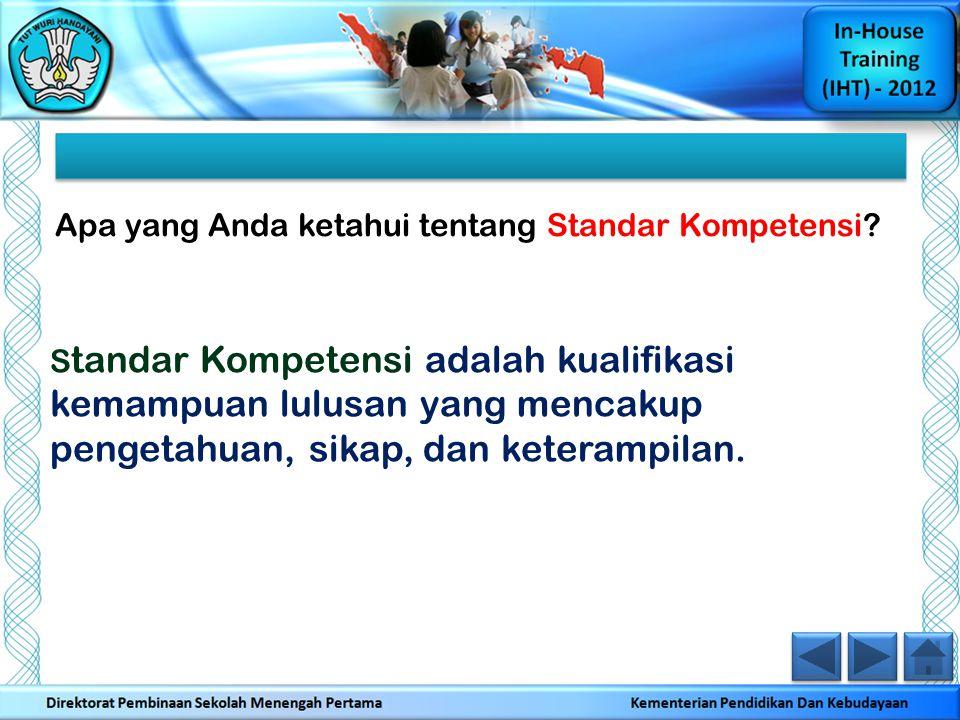 Apa yang Anda ketahui tentang Standar Kompetensi? S tandar Kompetensi adalah kualifikasi kemampuan lulusan yang mencakup pengetahuan, sikap, dan keter
