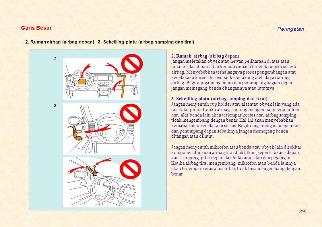 (2/4) Garis Besar Peringatan 2. Rumah airbag (airbag depan) 3. Sekeliling pintu (airbag samping dan tirai) 2. Rumah airbag (airbag depan) jangan me