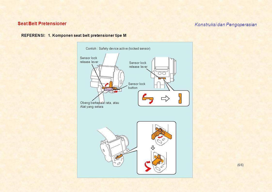 (6/6) Seat Belt Pretensioner Konstruksi dan Pengoperasian Contoh : Safety device active (locked sensor) Sensor lock release lever Sensor lock releas