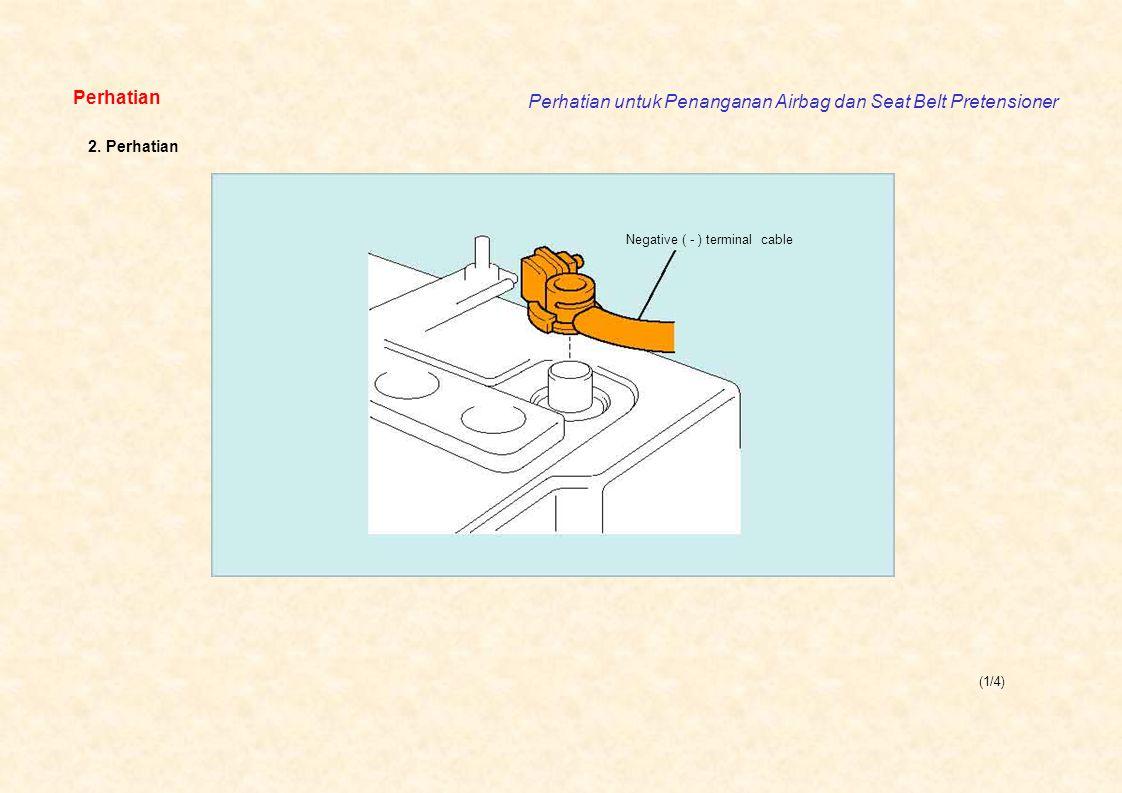 (1/4) Perhatian Perhatian untuk Penanganan Airbag dan Seat Belt Pretensioner Negative ( - ) terminal cable 2. Perhatian