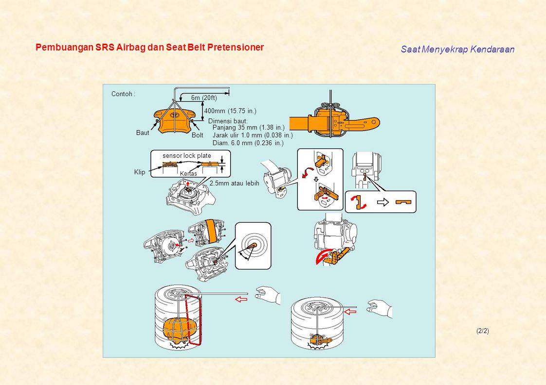 Pembuangan SRS Airbag dan Seat Belt Pretensioner Saat Menyekrap Kendaraan (2/2) Contoh : 6m (20ft) 400mm (15.75 in.) Dimensi baut: Panjang 35 mm (1