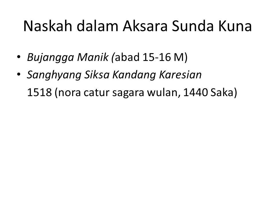Naskah dalam Aksara Sunda Kuna Bujangga Manik (abad 15-16 M) Sanghyang Siksa Kandang Karesian 1518 (nora catur sagara wulan, 1440 Saka)