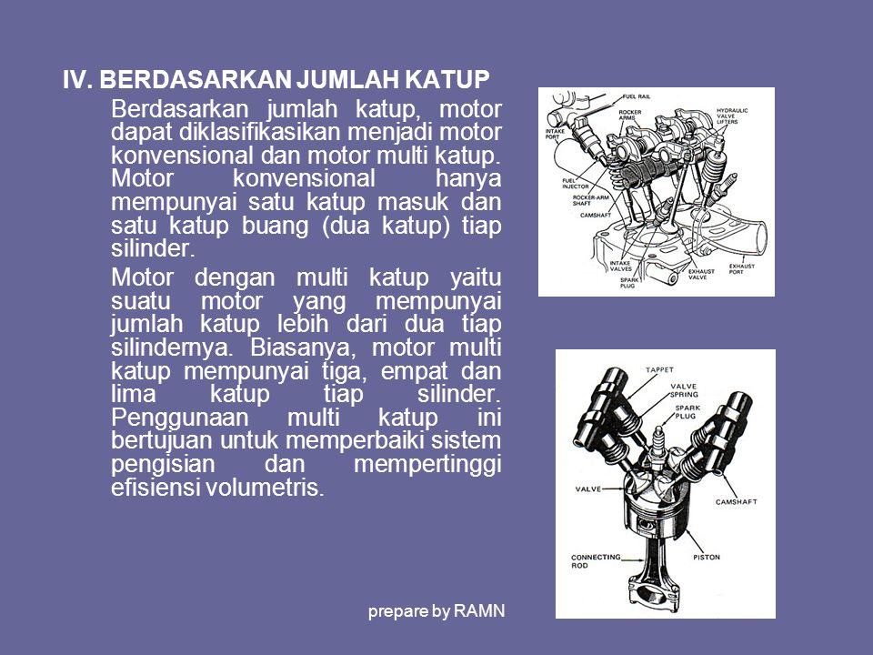 IV. BERDASARKAN JUMLAH KATUP Berdasarkan jumlah katup, motor dapat diklasifikasikan menjadi motor konvensional dan motor multi katup. Motor konvension
