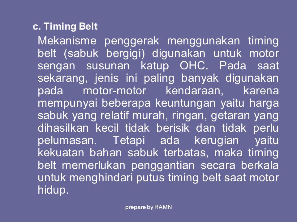 c. Timing Belt Mekanisme penggerak menggunakan timing belt (sabuk bergigi) digunakan untuk motor sengan susunan katup OHC. Pada saat sekarang, jenis i