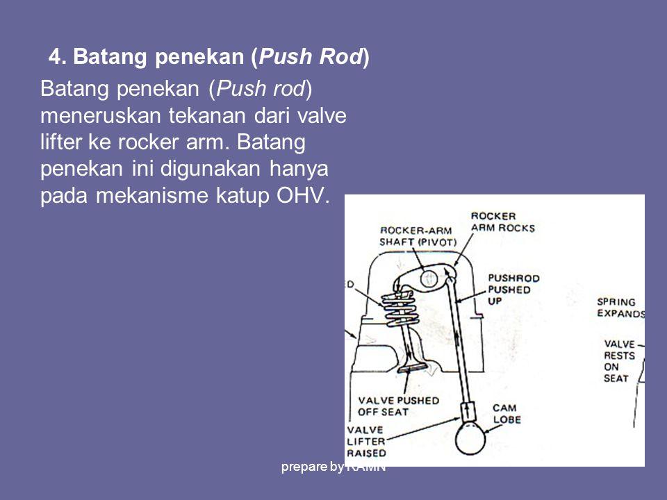 4. Batang penekan (Push Rod) Batang penekan (Push rod) meneruskan tekanan dari valve lifter ke rocker arm. Batang penekan ini digunakan hanya pada mek