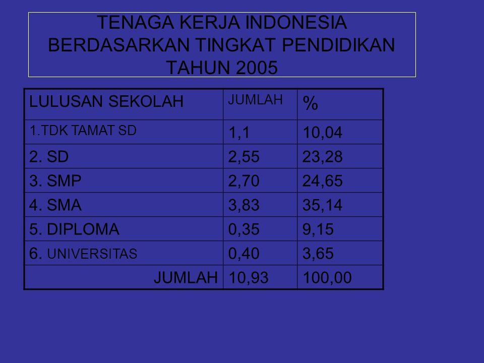 TENAGA KERJA INDONESIA BERDASARKAN TINGKAT PENDIDIKAN TAHUN 2005 LULUSAN SEKOLAH JUMLAH % 1.TDK TAMAT SD 1,110,04 2. SD2,5523,28 3. SMP2,7024,65 4. SM