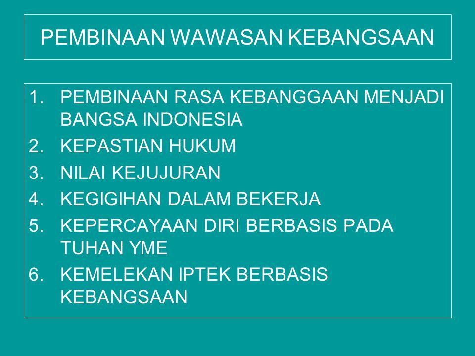 PEMBINAAN WAWASAN KEBANGSAAN 1.PEMBINAAN RASA KEBANGGAAN MENJADI BANGSA INDONESIA 2.KEPASTIAN HUKUM 3.NILAI KEJUJURAN 4.KEGIGIHAN DALAM BEKERJA 5.KEPE