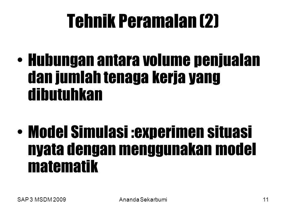 SAP 3 MSDM 2009Ananda Sekarbumi11 Tehnik Peramalan (2) Hubungan antara volume penjualan dan jumlah tenaga kerja yang dibutuhkan Model Simulasi :experi