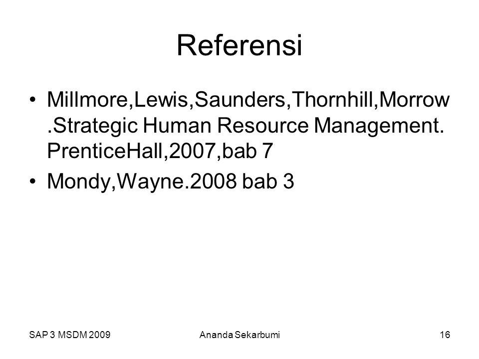 SAP 3 MSDM 2009Ananda Sekarbumi16 Referensi Millmore,Lewis,Saunders,Thornhill,Morrow.Strategic Human Resource Management. PrenticeHall,2007,bab 7 Mond