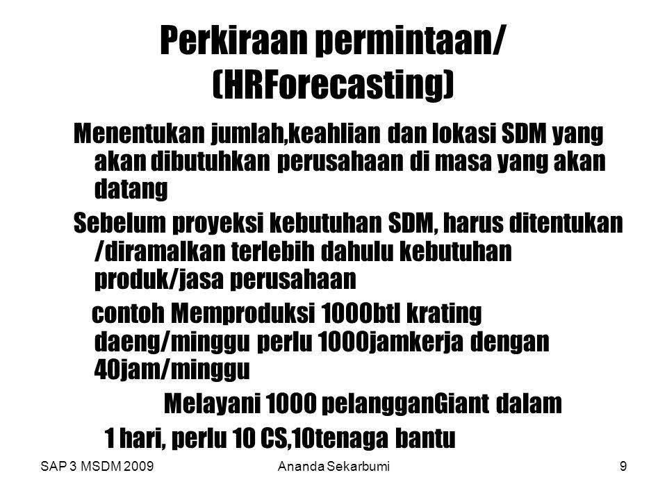 SAP 3 MSDM 2009Ananda Sekarbumi9 Perkiraan permintaan/ (HRForecasting) Menentukan jumlah,keahlian dan lokasi SDM yang akan dibutuhkan perusahaan di ma