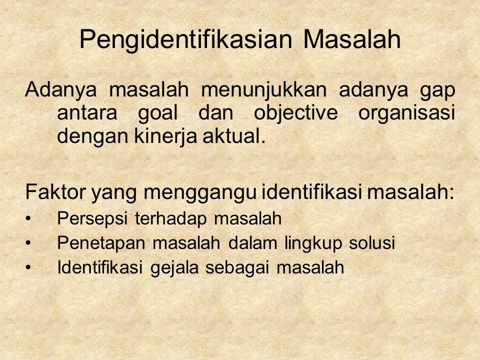 Pengidentifikasian Masalah Adanya masalah menunjukkan adanya gap antara goal dan objective organisasi dengan kinerja aktual. Faktor yang menggangu ide
