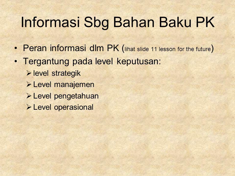 Informasi Sbg Bahan Baku PK Peran informasi dlm PK ( lihat slide 11 lesson for the future ) Tergantung pada level keputusan:  level strategik  Level manajemen  Level pengetahuan  Level operasional