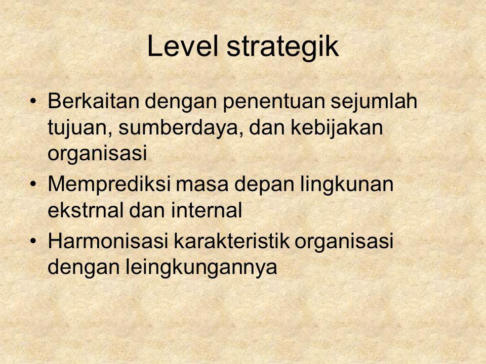 Level strategik Berkaitan dengan penentuan sejumlah tujuan, sumberdaya, dan kebijakan organisasi Memprediksi masa depan lingkunan ekstrnal dan internal Harmonisasi karakteristik organisasi dengan leingkungannya