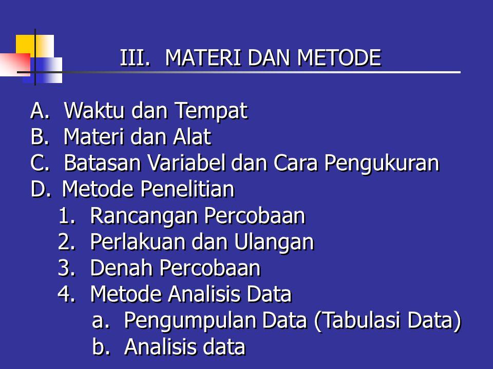 III. MATERI DAN METODE A. Waktu dan Tempat B. Materi dan Alat C.