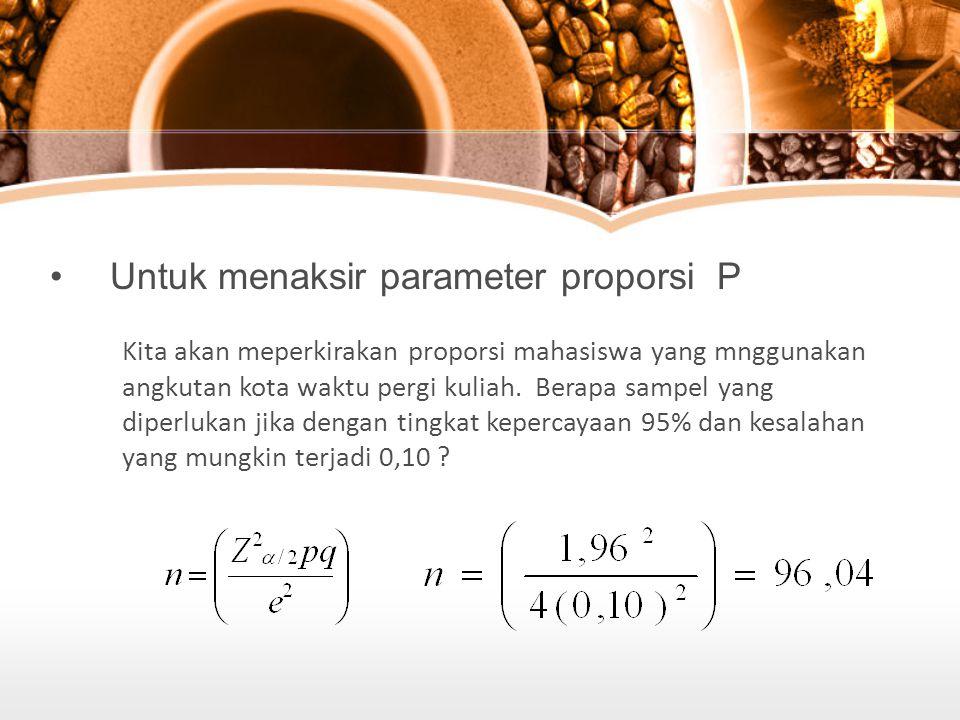 Untuk menaksir parameter proporsi P Kita akan meperkirakan proporsi mahasiswa yang mnggunakan angkutan kota waktu pergi kuliah.