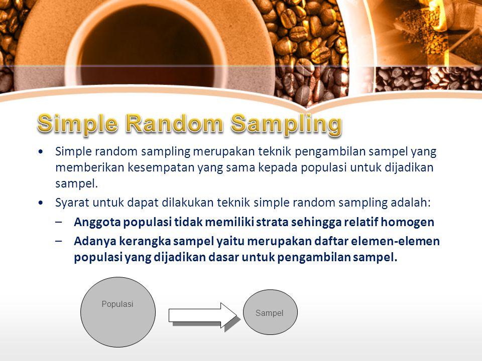 Simple random sampling merupakan teknik pengambilan sampel yang memberikan kesempatan yang sama kepada populasi untuk dijadikan sampel.