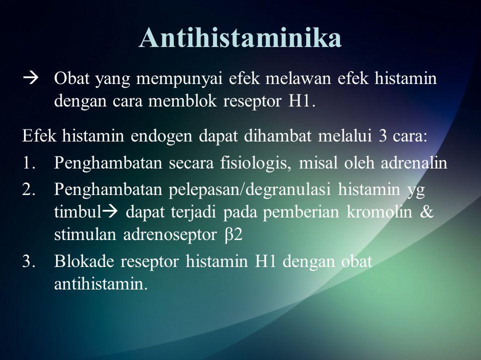 Antihistaminika  Obat yang mempunyai efek melawan efek histamin dengan cara memblok reseptor H1.