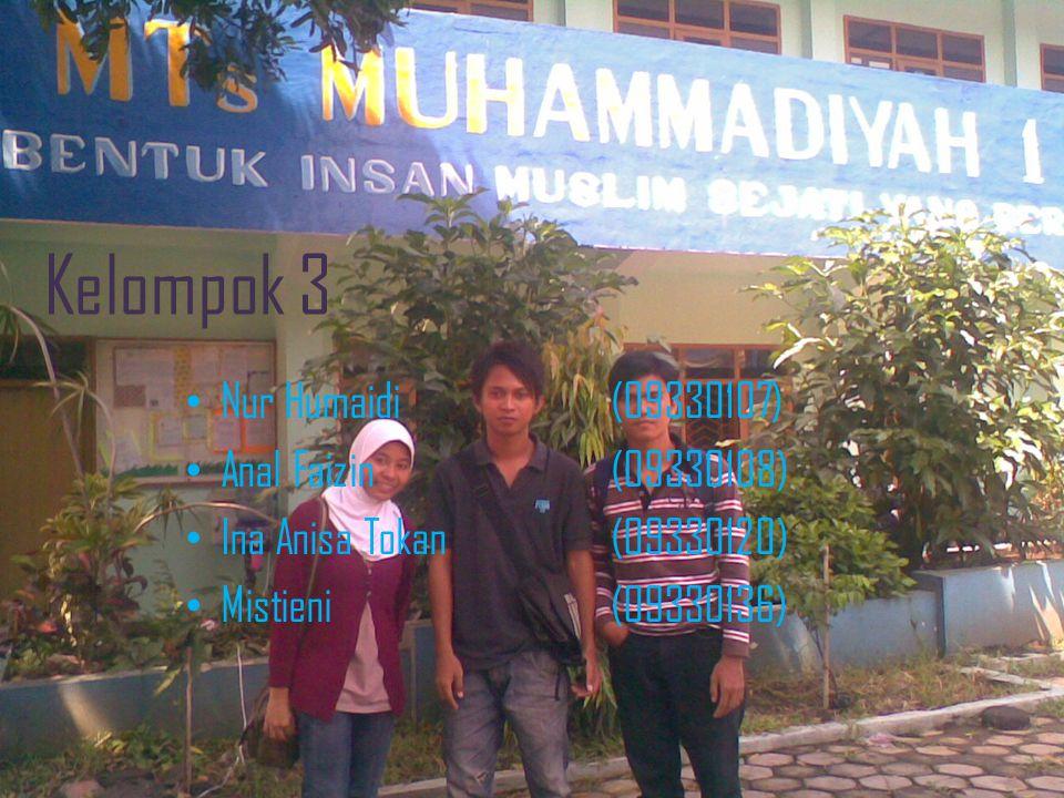 Kelompok 3 Nur Humaidi(09330107) Anal Faizin(09330108) Ina Anisa Tokan(09330120) Mistieni(09330136)