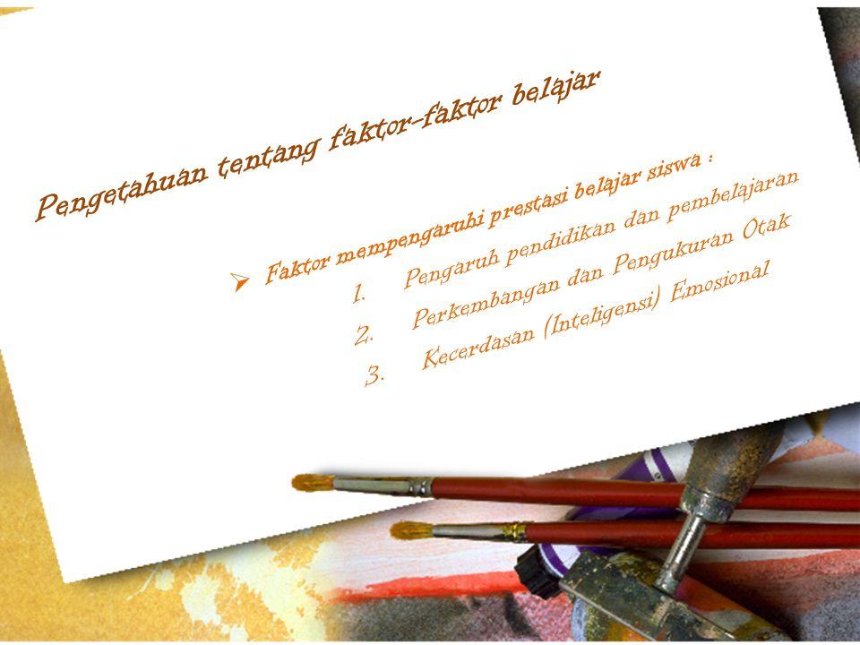 Pengetahuan tentang faktor-faktor belajar  Faktor mempengaruhi prestasi belajar siswa : 1.