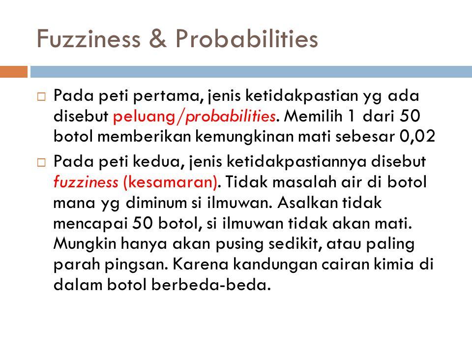 Fuzziness & Probabilities  Pada peti pertama, jenis ketidakpastian yg ada disebut peluang/probabilities. Memilih 1 dari 50 botol memberikan kemungkin