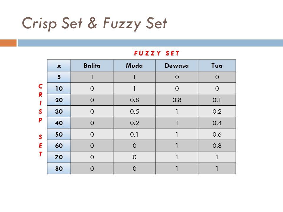 Crisp Set & Fuzzy Set xBalitaMudaDewasaTua 51100 100100 2000.8 0.1 3000.510.2 4000.210.4 5000.110.6 600010.8 700011 800011 CRISPSET F U Z Z Y S E T