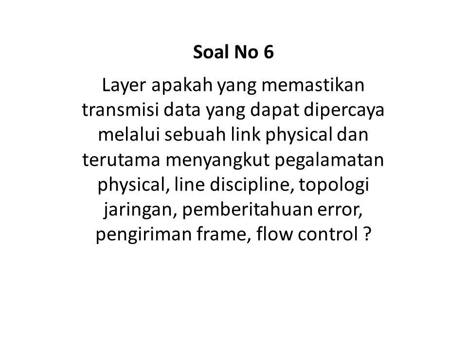 Layer apakah yang membuat segmen dan menyusunnya kembali menjadi sebuah arus data ? Soal No 17