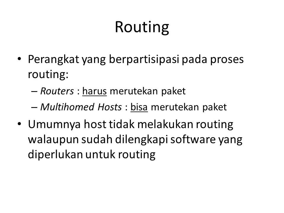 Routing Perangkat yang berpartisipasi pada proses routing: – Routers : harus merutekan paket – Multihomed Hosts : bisa merutekan paket Umumnya host tidak melakukan routing walaupun sudah dilengkapi software yang diperlukan untuk routing
