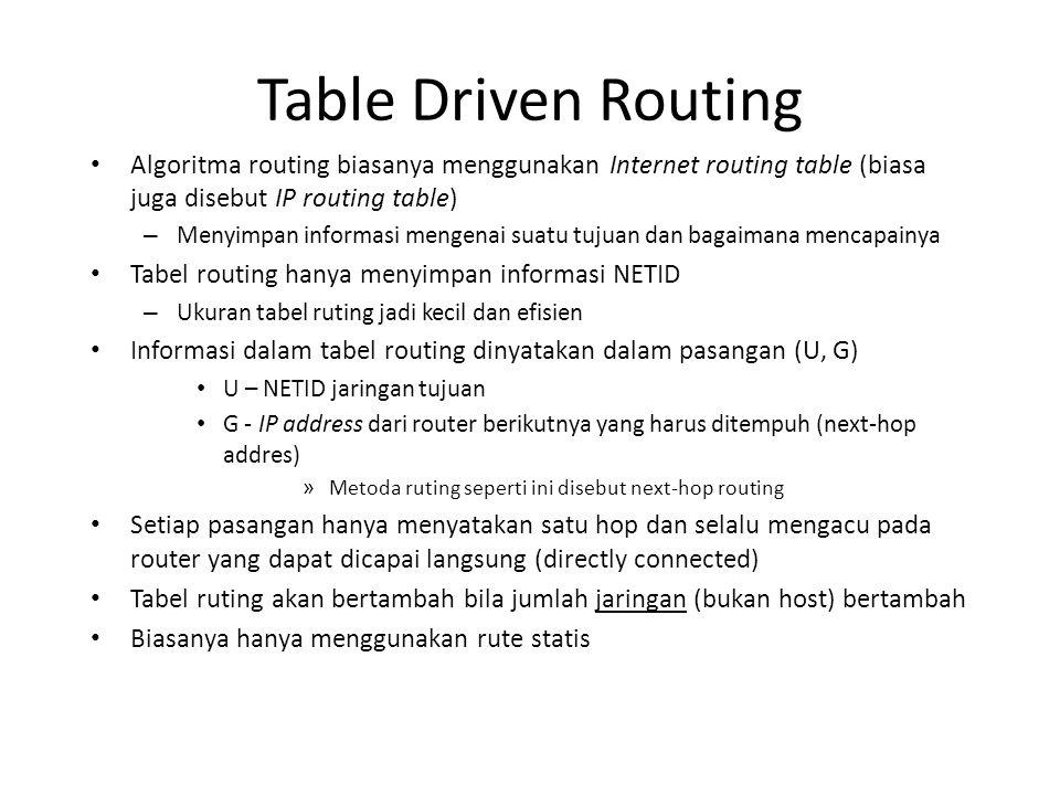 Table Driven Routing Algoritma routing biasanya menggunakan Internet routing table (biasa juga disebut IP routing table) – Menyimpan informasi mengenai suatu tujuan dan bagaimana mencapainya Tabel routing hanya menyimpan informasi NETID – Ukuran tabel ruting jadi kecil dan efisien Informasi dalam tabel routing dinyatakan dalam pasangan (U, G) U – NETID jaringan tujuan G - IP address dari router berikutnya yang harus ditempuh (next-hop addres) » Metoda ruting seperti ini disebut next-hop routing Setiap pasangan hanya menyatakan satu hop dan selalu mengacu pada router yang dapat dicapai langsung (directly connected) Tabel ruting akan bertambah bila jumlah jaringan (bukan host) bertambah Biasanya hanya menggunakan rute statis
