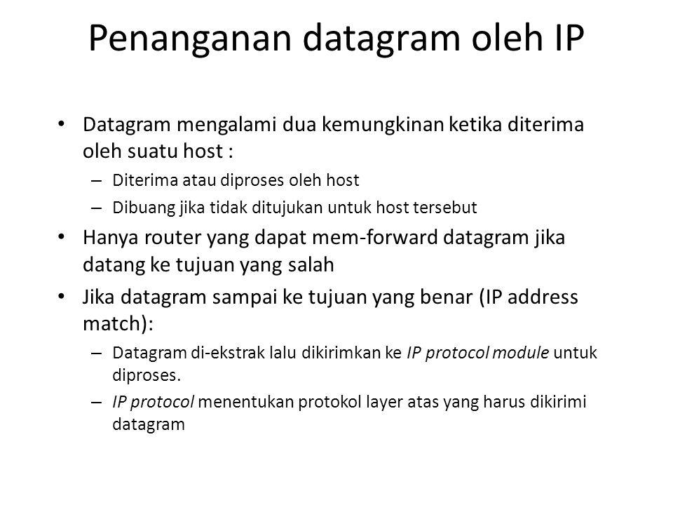 Penanganan datagram oleh IP Datagram mengalami dua kemungkinan ketika diterima oleh suatu host : – Diterima atau diproses oleh host – Dibuang jika tidak ditujukan untuk host tersebut Hanya router yang dapat mem-forward datagram jika datang ke tujuan yang salah Jika datagram sampai ke tujuan yang benar (IP address match): – Datagram di-ekstrak lalu dikirimkan ke IP protocol module untuk diproses.