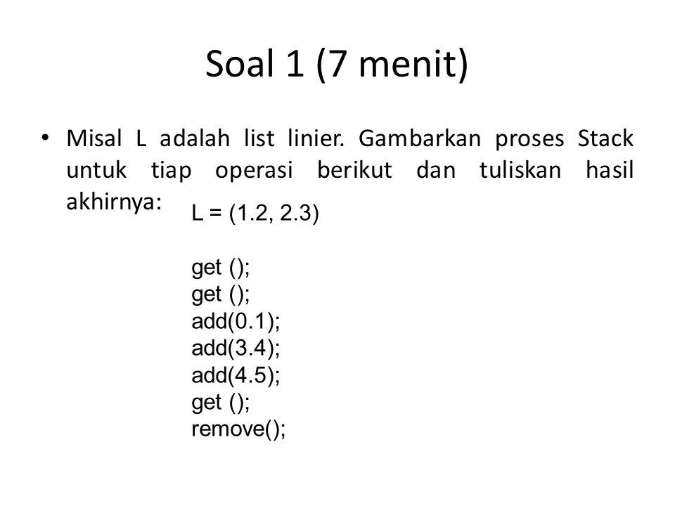 Soal 1 (7 menit) Misal L adalah list linier. Gambarkan proses Stack untuk tiap operasi berikut dan tuliskan hasil akhirnya: L = (1.2, 2.3) get (); add