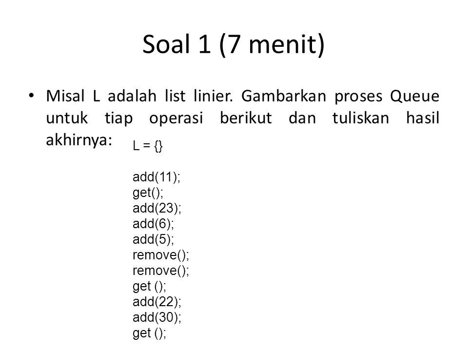 Soal 1 (7 menit) Misal L adalah list linier. Gambarkan proses Queue untuk tiap operasi berikut dan tuliskan hasil akhirnya: L = {} add(11); get(); add