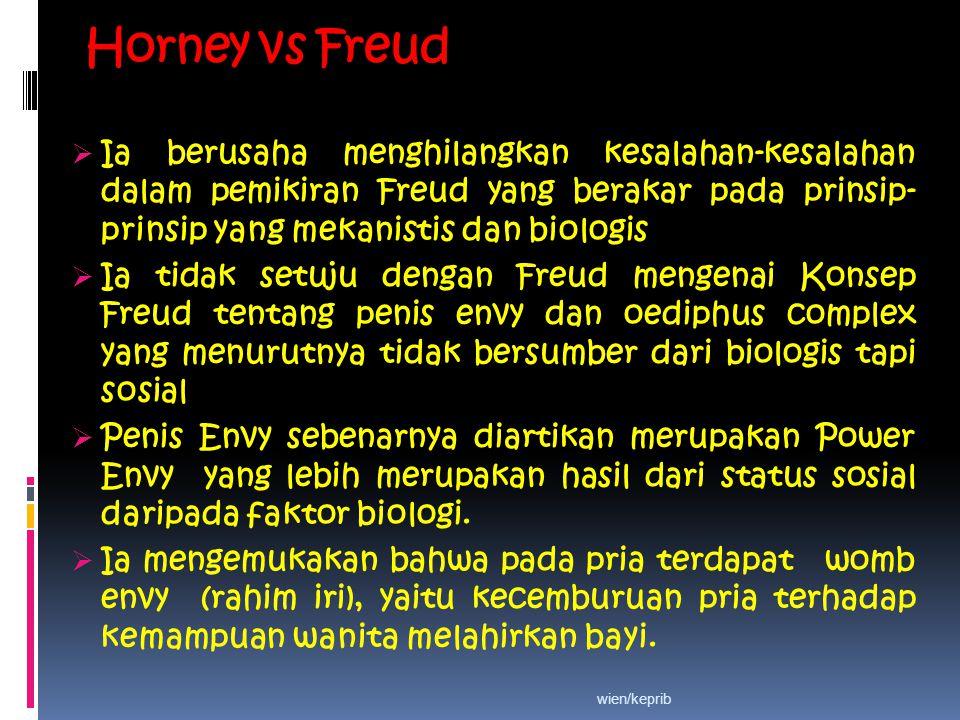 Horney vs Freud  Ia berusaha menghilangkan kesalahan-kesalahan dalam pemikiran Freud yang berakar pada prinsip- prinsip yang mekanistis dan biologis  Ia tidak setuju dengan Freud mengenai Konsep Freud tentang penis envy dan oediphus complex yang menurutnya tidak bersumber dari biologis tapi sosial  Penis Envy sebenarnya diartikan merupakan Power Envy yang lebih merupakan hasil dari status sosial daripada faktor biologi.
