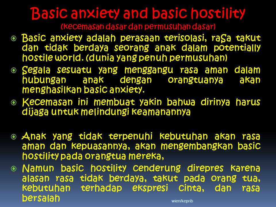 Basic anxiety and basic hostility (kecemasan dasar dan permusuhan dasar)  Basic anxiety adalah perasaan terisolasi, raSa takut dan tidak berdaya seorang anak dalam potentially hostile world.